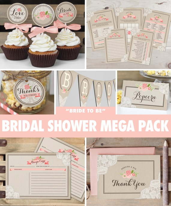 Rustic Lace Bridal Shower Mega Pack // INSTANT DOWNLOAD // Games & Decorations // Shower Kit // Blush Pink Coral // Digital Printable ws02