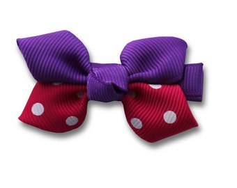 small purple and red with dots hair bow ,Hair Bows -Baby Hair Clips -Purple Hair Bow -Girls Hair Bows - Hair Bows,Hair Clips, Clippies