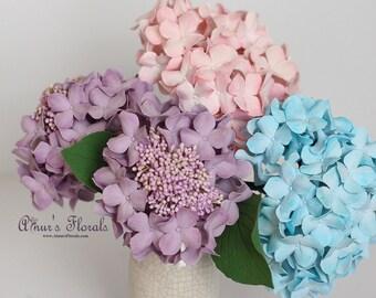 Pink Purple Blue Hydrangeas Bouquet, Hydrangeas Centerpiece Flower Arrangement, Wedding Flower Ideas