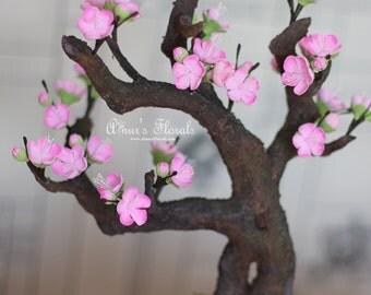 Handmade Bonsai Tree, Japanese Cherry Blossom Tree In Pot, Faux Sakura Tree, Floral Home Decor