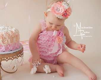 Stunning Cake Smash Outfit/Pink/Peach/Cream Lace Petti Romper Set, Pink Lace Petti Romper with Matching Headband or Hat!!!