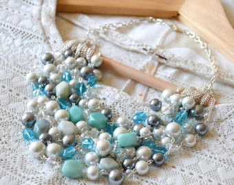 Layered Oslo Statement Necklace in Blue and Gray // Layered Pearl and Semi-Precious Stone Silver Statement Necklace