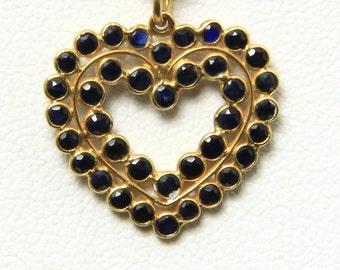 Vintage 14k Yellow Gold Deep Blue Tanzanite Heart Necklace Pendant Love Jewelry