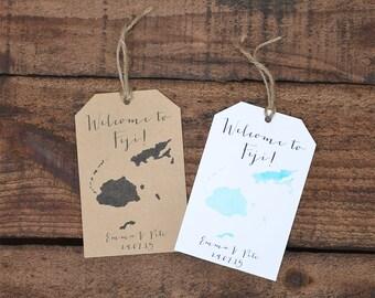 Wedding Welcome Bag Tags~ Fiji Map~ Watercolour/Black ~ PDF