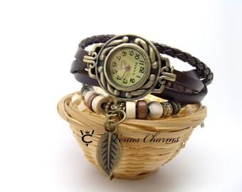 Vintage Wrap Leather Watch  Ladies Wrist Watch leaf charm