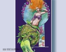 Red Head Mermaid Theme Art Print Original Watercolor Illustration Fish Tail Painting Pin Up Girl Illustration Ocean Sea Life Nautical Decor