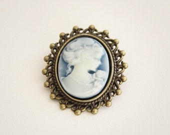 Victorian Lady Cameo Blue Brooch-Antique Bronze-Silver Tone