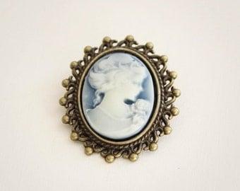 Victorian Lady Cameo Blue Brooch-Antique Bronze-Silver Tone