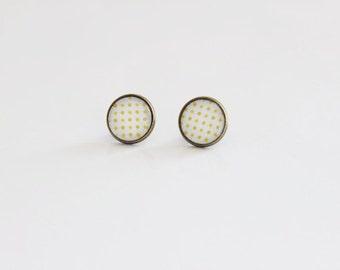 Yellow Dots Stud Earrings