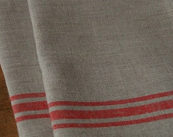 SET 2 Natural LINEN Towels, Tea Towels, Kitchen Towels, Taupe Red Striped TOWELS,  Eco Towels