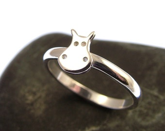Sterling Silver Hippo Ring - Stacking Ring - Hippo Jewellery - Hippo Gifts - Hippopotamus