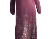 vintage Wild Orchid Silk and Lace Beaded Gatsby Gala Gown 1920s Dress 34 bust