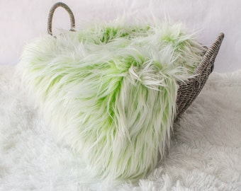 Frosted Green and White Faux Fur, Newborn Photo Prop, Mongolian Faux Fur Baby Prop, Ready to Ship, Basket Filler, Layering Blanket.
