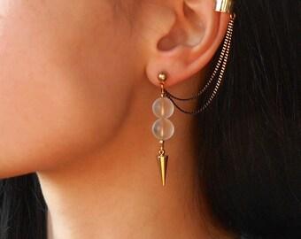 Rock Crystal ear cuff earrings, Spike ear cuff earrings