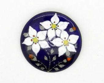 Handpainted Enamel Brooch 2 Inch (5 cm)  - White Flowers - Big Blue Brooch - Vintage Brooch - Handpainted Enamel