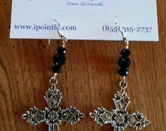 Beautiful Large Dangling Silver Cross Earrings with Black Glass Beads - FREE US SHIPPING!!