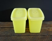 Set of two vintage translucid yellow Shelf SaversTupperware containers with lids, vintage, 1970s, storage containers
