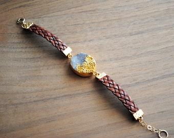 Druzy Bracelet, Leather Bracelet, Leather Druzy Bracelet, Natural Leather, Natural Druzy, Statement Bracelet