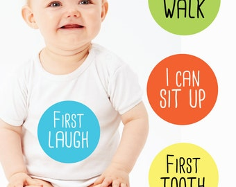 Monthly Milestone Stickers Baby Month Milestone Stickers Babys First Year Baby Shower Gift First Smile First Step I Can Walk I Can Crawl