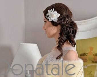 Wedding Hair Piece- Ivory Wedding  Hair Comb -Bridal   Hair Comb -Bridal Hair Piece- Wedding Fascinator -Bridal headpiece pearl- COCO
