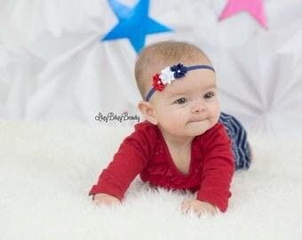 Patriotic Flower Headband Newborn Baby Girls Red White And Blue Hair Accessory