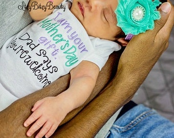 First Mother's Day gift baby embroidered bodysuit headband