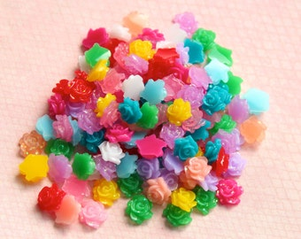 5 mm Tiny Rose Flower Cabochons Embellishments Kawaii Decoden Resin