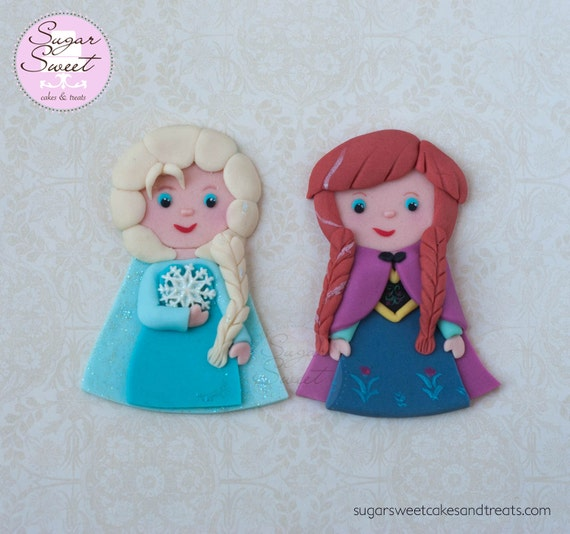 Elsa Cake Topper Decorations : Frozen Elsa Anna Cake Toppers Fondant Cutout by ShopSugarSweet