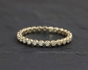 14k gold wedding band, diamond eternity band, diamond eternity ring, diamond stack ring, yellow gold, rose gold, white gold option, dal-r104