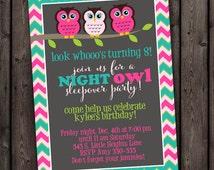 FAST SHIP sleepover invitation, slumber party invitation, owl invitation, customized wording included