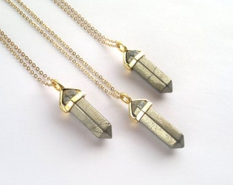 Pyrite Crystal Point Pendant Necklace Pyrite Stone Necklace Pyrite Jewelry Natural Stone Chain Crystal Mineral Boho Jewelry Layering Pyrite