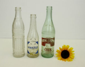 Vintage Pop Bottles, Soda Bottles, Nehi Bottle, Whistle Bottle, Royal Crown, RC Cola Bottle