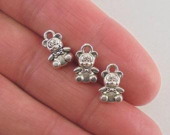 14 Teddy Bear charms, 11x7mm, antique silver finish