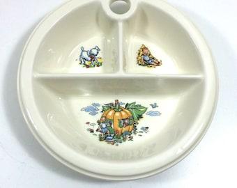 Vintage Divided Baby Dish with Nursery Rhyme Design, Peter Pumpkin Eater & Boy Blue
