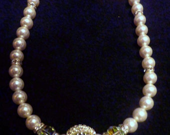 "BEEutiful Swarovski Pearl and Rhinestone Ball Wedding Necklace --""Victoria"""