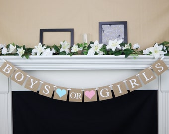 gender reveal party banner, its twins banner,baby shower decorations,pink or blue banner,Pink and Blue Baby Shower Banner,boy or girl banner