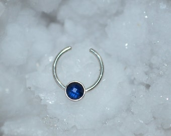 3mm Sapphire Septum Cuff - Silver Fake Septum Ring - Faux Piercing 20g - Fake Nose Ring - Nose Cuff 20 gauge - Fake Tragus Piercing