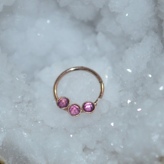 2mm Amethyst Septum Ring - Solid Gold Nose Ring - Helix Earring - Rook Earring - Nipple Ring - Cartilage Piercing - Daith Piercing 18 gauge
