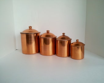 copper kitchen canister sets popular items for kitchen canisters on etsy 16853