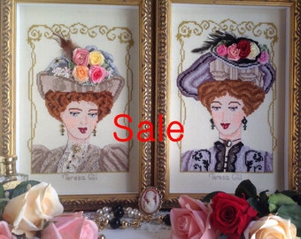 Two Edwardian Beauties -Victorian Edwardian style PDF Counted cross stitch Chart pattern Instant Download