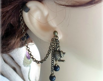 Tea Time Ear Cuff - Earring Stud, Antique Bronze Tone, Imitation Pearls - No Upper Ear Piercing Required