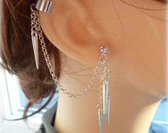 Spiked Ear Cuff - Earring Stud, Silver Plated - No Upper Ear Piercing Required