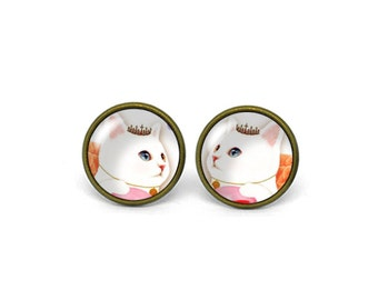 X571- Cat, Kitty, Glass Dome Post Earrings
