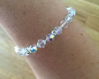 AB Swarovski Crystal bridal bracelet or clear crystal and diamante bracelet, vintage crystal bridal jewellery AB Swarovski wedding jewelry
