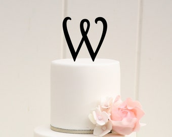Personalized Monogram Wedding Cake Topper - 4 Inch Monogram Letter Cake Topper