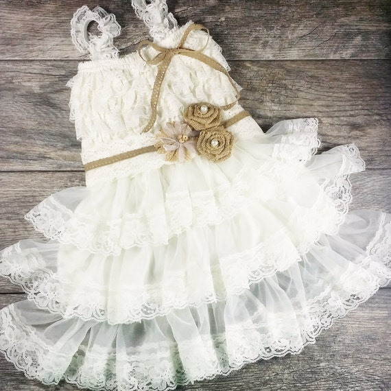 rustic flower girl dress country wedding by ForCountry Wedding Flower Girl Dresses
