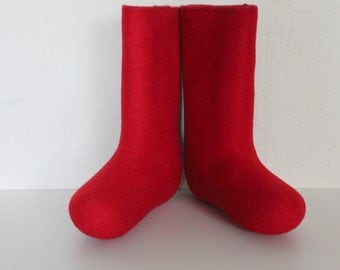 Red Wool Felted Kids Boots Russian Valenki Elf Boots Cold Winter Footwear  Winter Snow Boots