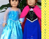 """Disney inspired Frozen Snow Queen Elsa and Princess Anna American Girl or 18"""" doll costume"""