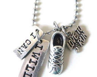 I Can I Will Love to Run Sneaker Marathon Cross Country 5k 10k Charm Necklace YOU Choose Necklace Length and Ball Chain Size