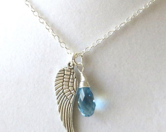Birthstone Angel Wing Optional Hand Stamped Letter Charm Pendant Necklace You Choose Necklace Length and Birthstone